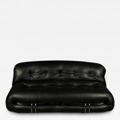 Afra Tobia Scarpa SORIANA TWO SEAT BLACK LEATHER SOFA BY AFRA AND TOBIA SCARPA FOR CASSINA - 1768664