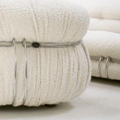 Afra Tobia Scarpa Tobia Scarpa Mid Century Modern White Boucl Wool Soriana Italian Sofa 60s - 1840336