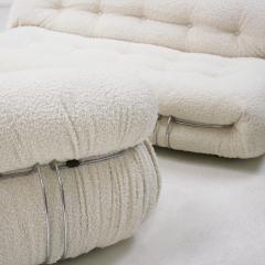 Afra Tobia Scarpa Tobia Scarpa Mid Century Modern White Boucl Wool Soriana Italian Sofa 60s - 1840337