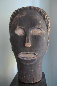 African American Carved Black Head with Blue - 395683