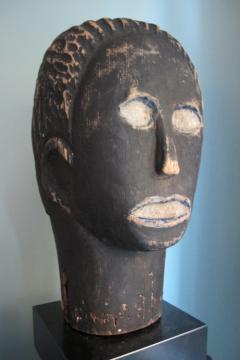 African American Carved Black Head with Blue - 395687