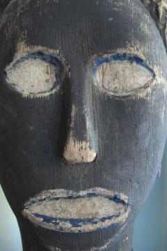 African American Carved Black Head with Blue - 395689