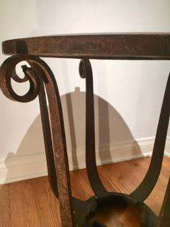 After Raymond Subes Wrought Iron and Marble Table - 1738039