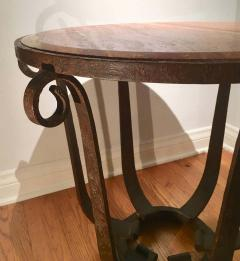 After Raymond Subes Wrought Iron and Marble Table - 1738040