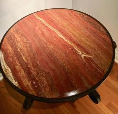 After Raymond Subes Wrought Iron and Marble Table - 1738041