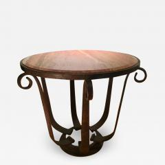 After Raymond Subes Wrought Iron and Marble Table - 1738581