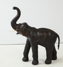 Aged Leather Elephant Statue - 1266757