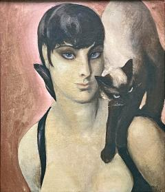 Agnes Tait Siamese Twins by Agnes Tait USA oil on Masonite circa 1930s - 2129992