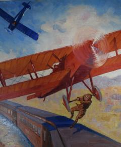 Airplane Action Comic Book Cover Painting - 1711746