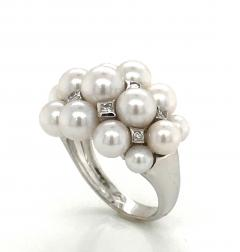 Akoya Cultured Pearls and White Diamonds on White Gold 18 Karat Dome Ring - 1172936
