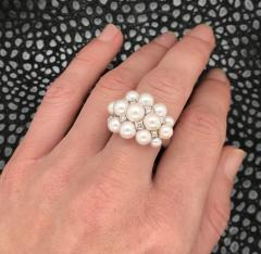 Akoya Cultured Pearls and White Diamonds on White Gold 18 Karat Dome Ring - 1172940