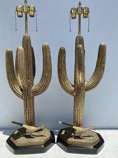 Alain Chervet Pair of Brass Giant Saguaro Cactus Lamps - 1452736