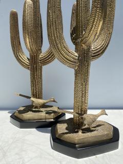 Alain Chervet Pair of Brass Giant Saguaro Cactus Lamps - 1452738
