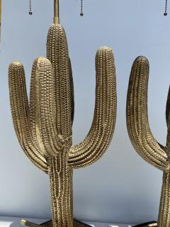 Alain Chervet Pair of Brass Giant Saguaro Cactus Lamps - 1452739