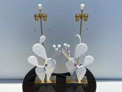 Alain Chervet Pair of Cactus Lamps with Amethyst Cluster - 2068452