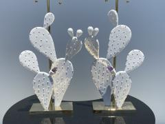 Alain Chervet Pair of Cactus Lamps with Amethyst Cluster - 2068453
