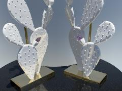 Alain Chervet Pair of Cactus Lamps with Amethyst Cluster - 2068457
