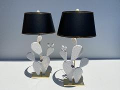 Alain Chervet Pair of Cactus Lamps with Amethyst Cluster - 2068459