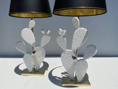 Alain Chervet Pair of Cactus Lamps with Amethyst Cluster - 2068460