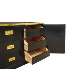 Alain Delon Maison Jansen Elegant Chest of Drawer in Black Lacquer with Brass 1970s - 971278