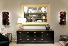 Alain Delon Maison Jansen Elegant Chest of Drawer in Black Lacquer with Brass 1970s - 971279