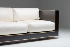 Alain Delon Maison Jansen geometric sofa in Black and Brass Hollywood Regency 1970s - 2048357