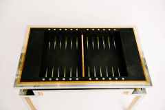Alain Delon Tri Metal Backgammon Table by Alain Delon for Maison Jansen - 583275