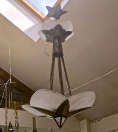 Albert Cheuret Albert Cheuret alabaster and silvered bronze 3 tier chandelier - 1079819