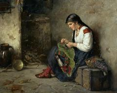 Albert Muller Lingke A Girl Mending  - 1864778