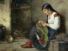 Albert Muller Lingke A Girl Mending  - 1864779