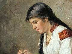 Albert Muller Lingke A Girl Mending  - 1864780
