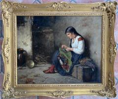 Albert Muller Lingke A Girl Mending  - 1864782