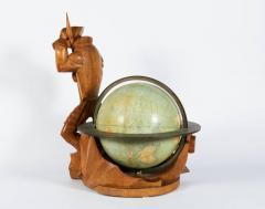 Albert Poels Philips Carved Wood Sculptural Globe by Albert Poels Belgium 1939 - 300110