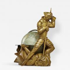 Albert Poels Philips Carved Wood Sculptural Globe by Albert Poels Belgium 1939 - 300480
