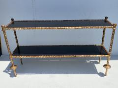Alberto Diego Giacometti Wrought Iron Console Table in Gold Leaf Style of Giacometti - 2031558