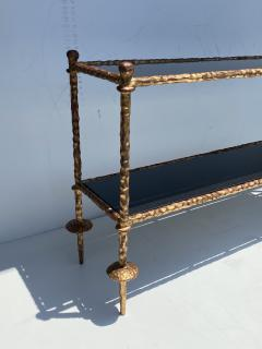 Alberto Diego Giacometti Wrought Iron Console Table in Gold Leaf Style of Giacometti - 2031559
