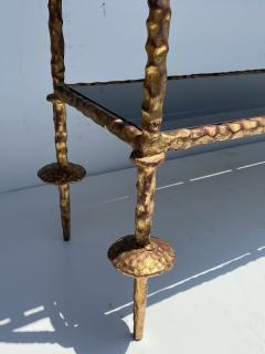 Alberto Diego Giacometti Wrought Iron Console Table in Gold Leaf Style of Giacometti - 2031561