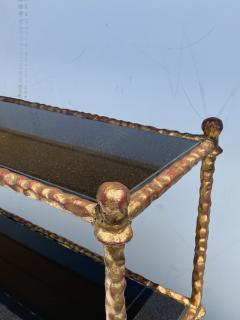 Alberto Diego Giacometti Wrought Iron Console Table in Gold Leaf Style of Giacometti - 2031563