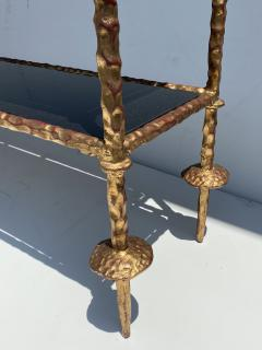 Alberto Diego Giacometti Wrought Iron Console Table in Gold Leaf Style of Giacometti - 2031564