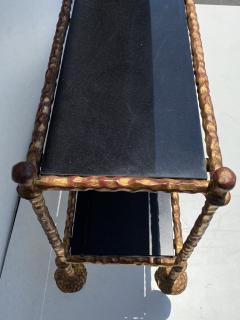 Alberto Diego Giacometti Wrought Iron Console Table in Gold Leaf Style of Giacometti - 2031565