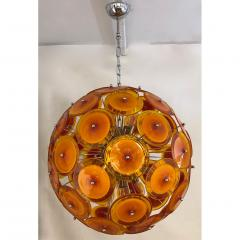 Alberto Dona Alberto Don Contemporary Nickel Brown Orange Yellow Murano Glass Chandelier - 676837