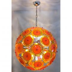 Alberto Dona Alberto Don Contemporary Nickel Brown Orange Yellow Murano Glass Chandelier - 676838