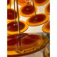Alberto Dona Alberto Don Contemporary Nickel Brown Orange Yellow Murano Glass Chandelier - 676839