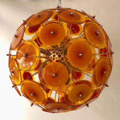 Alberto Dona Alberto Don Contemporary Nickel Brown Orange Yellow Murano Glass Chandelier - 676840