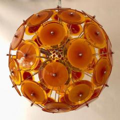 Alberto Dona Alberto Don Contemporary Nickel Brown Orange Yellow Murano Glass Chandelier - 676840