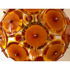 Alberto Dona Alberto Don Contemporary Nickel Brown Orange Yellow Murano Glass Chandelier - 676841