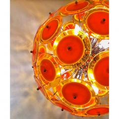 Alberto Dona Alberto Don Contemporary Nickel Brown Orange Yellow Murano Glass Chandelier - 676844