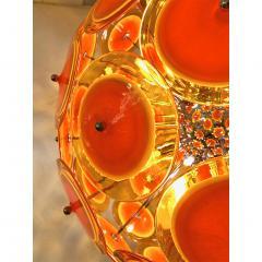Alberto Dona Alberto Don Contemporary Nickel Brown Orange Yellow Murano Glass Chandelier - 676845