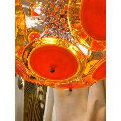 Alberto Dona Alberto Don Contemporary Nickel Brown Orange Yellow Murano Glass Chandelier - 676847