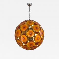 Alberto Dona Alberto Don Contemporary Nickel Brown Orange Yellow Murano Glass Chandelier - 676863